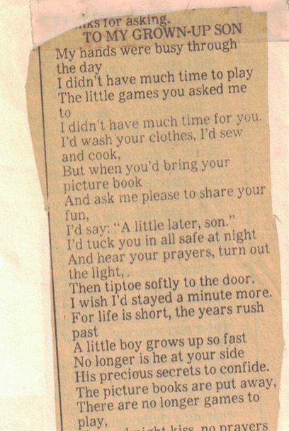 Poem-To My Grown-Up Son